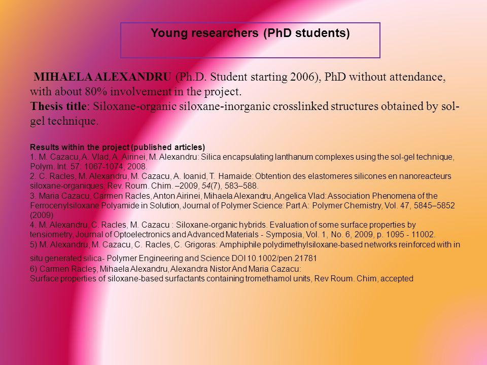 Young researchers (PhD students) MIHAELA ALEXANDRU (Ph.D.