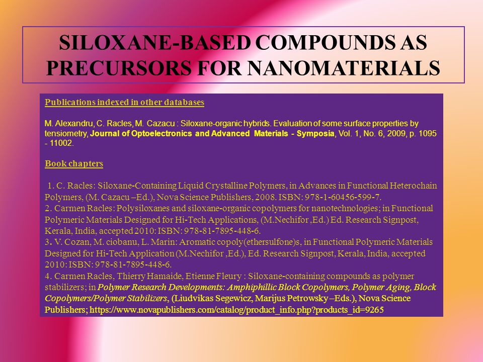 SILOXANE-BASED COMPOUNDS AS PRECURSORS FOR NANOMATERIALS Publications indexed in other databases M.