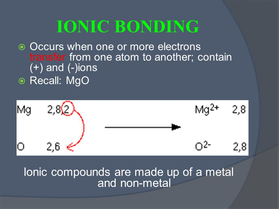 IONIC BONDING  Occurs when one or more electrons transfer from one atom to another; contain (+) and (-)ions  Recall: MgO Ionic compounds are made up of a metal and non-metal