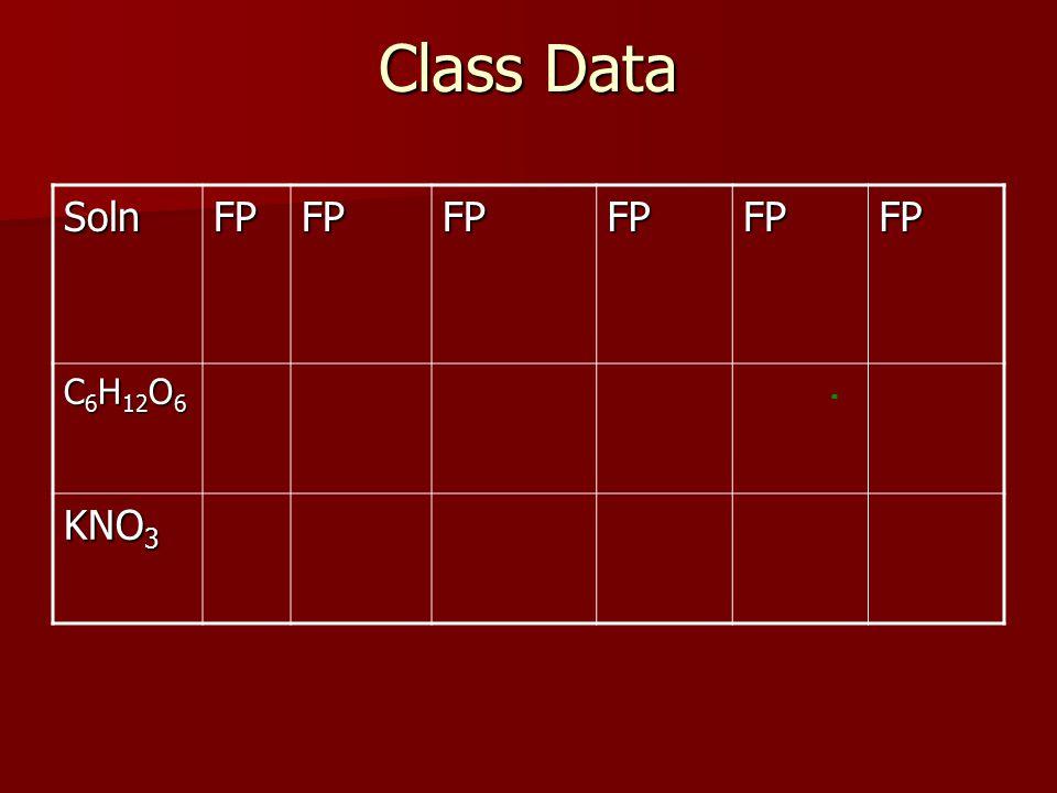 Class Data SolnFPFPFPFPFPFP C 6 H 12 O 6 KNO 3