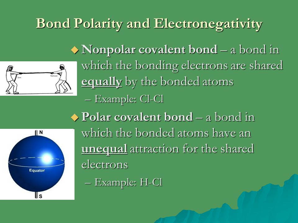 Bond Polarity and Electronegativity  Nonpolar covalent bond – a bond in which the bonding electrons are shared equally by the bonded atoms –Example: