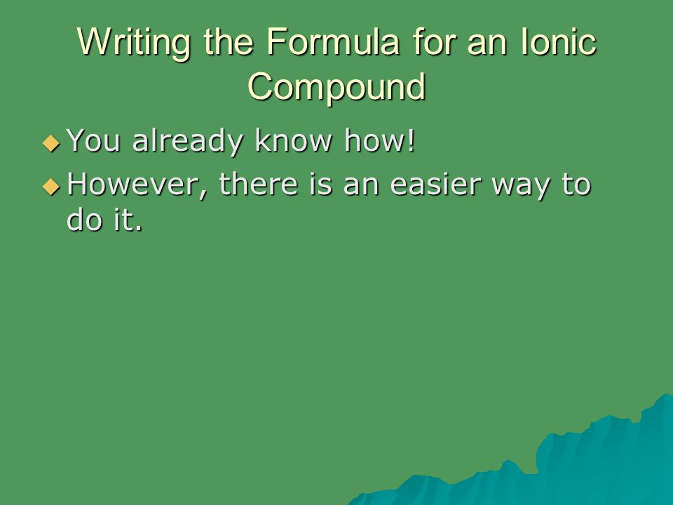 Writing the Formula for an Ionic Compound  You already know how!  However, there is an easier way to do it.
