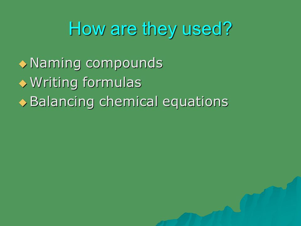 How are they used?  Naming compounds  Writing formulas  Balancing chemical equations