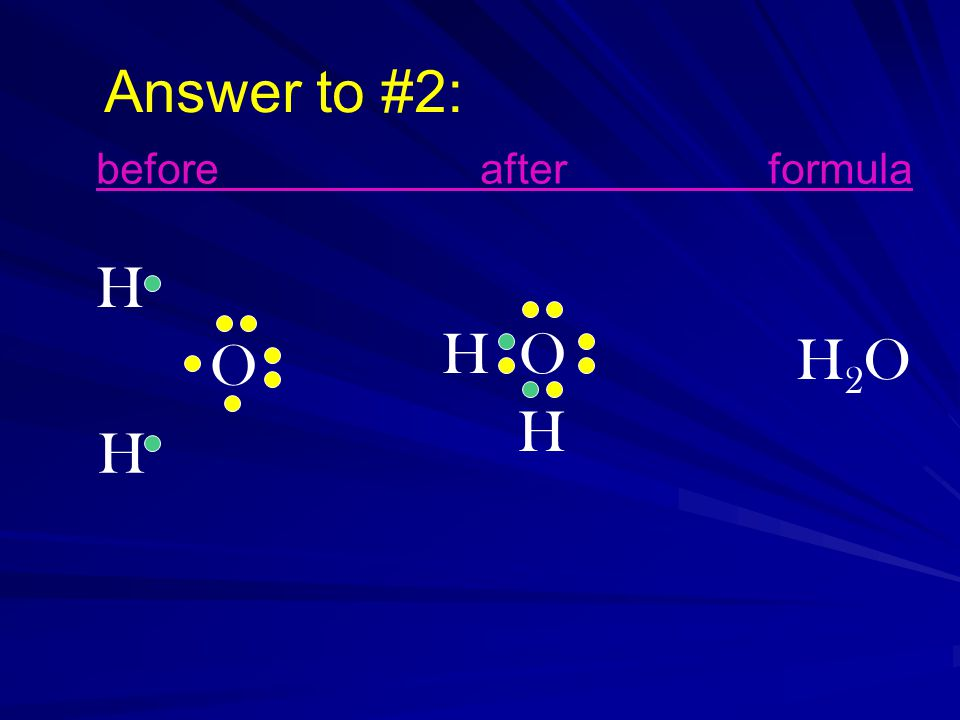 Answer to #2: H O H H O H H2OH2O beforeafterformula