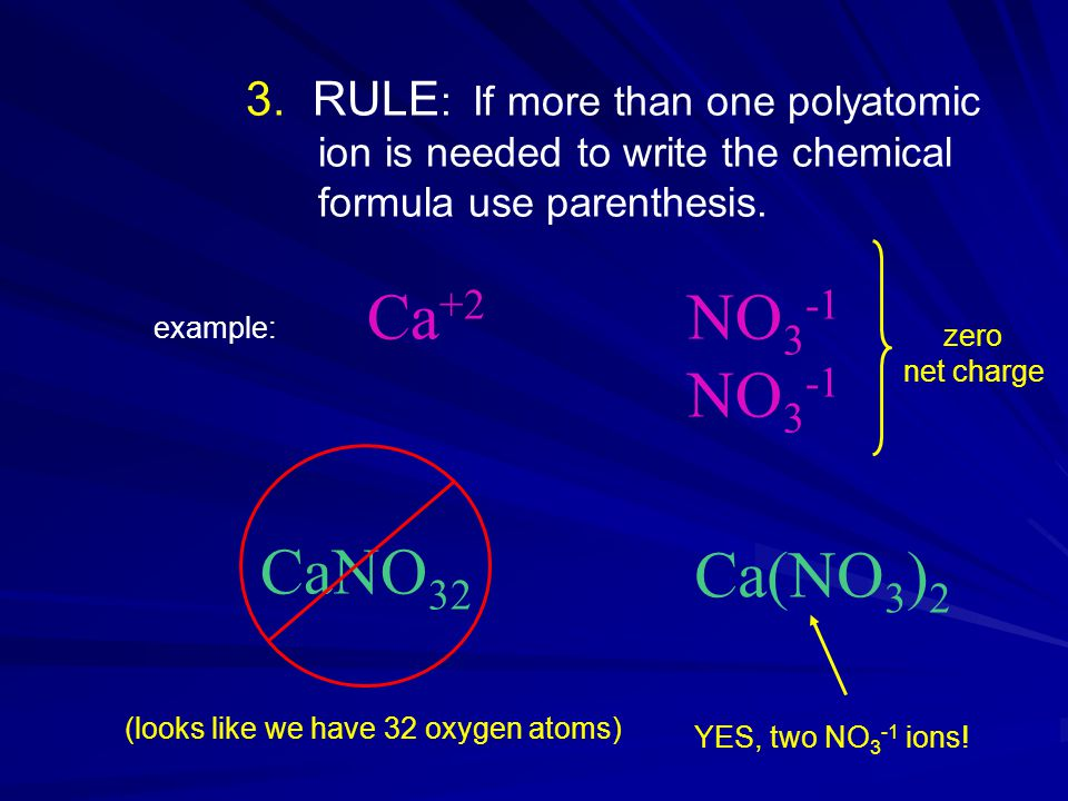 3. RULE : If more than one polyatomic ion is needed to write the chemical formula use parenthesis.