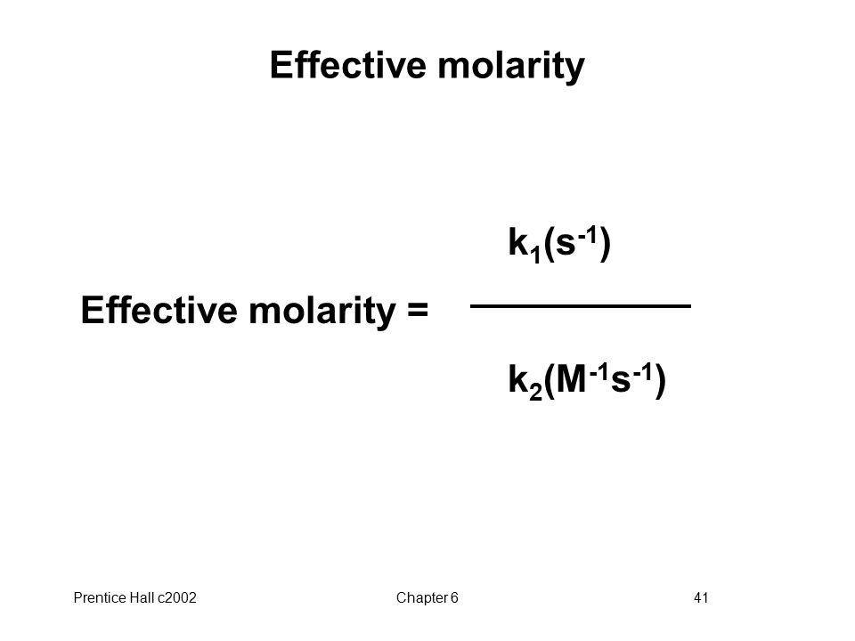 Prentice Hall c2002Chapter 641 Effective molarity k 1 (s -1 ) Effective molarity = k 2 (M -1 s -1 )