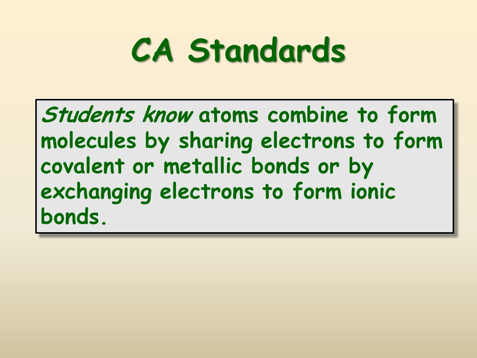 CA Standards Students know atoms combine to form molecules by sharing electrons to form covalent or metallic bonds or by exchanging electrons to form ionic bonds.