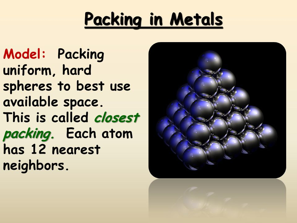 Metals have a Crystalline Structure Packed spheres of the same size and shape: –Body Centered Cubic –Face Centered Cubic –Hexagonal Close Packed