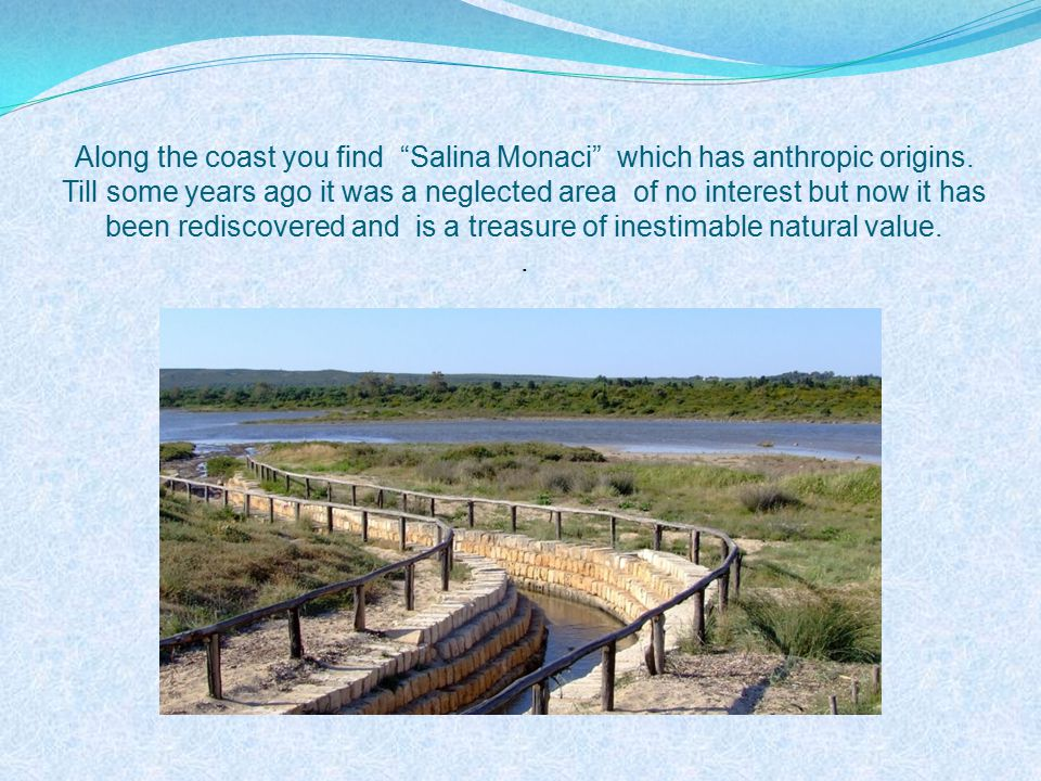 Along the coast you find Salina Monaci which has anthropic origins.