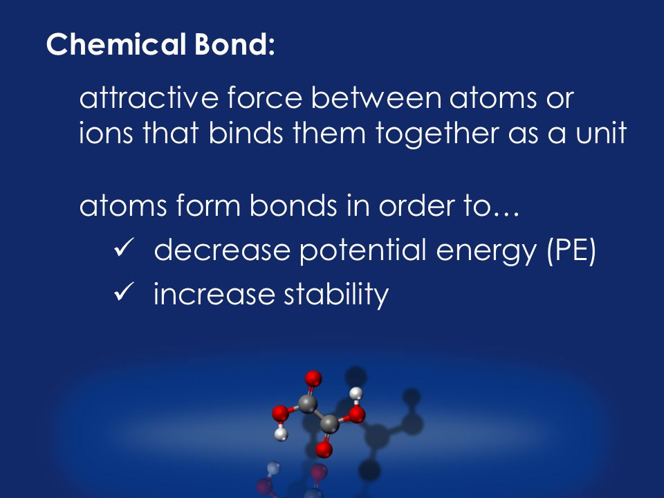 Chemical Bond: attractive force between atoms or ions that binds them together as a unit atoms form bonds in order to… decrease potential energy (PE) increase stability