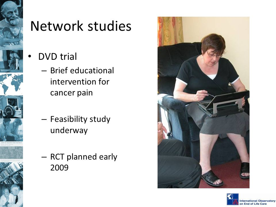 Network studies DVD trial – Brief educational intervention for cancer pain – Feasibility study underway – RCT planned early 2009
