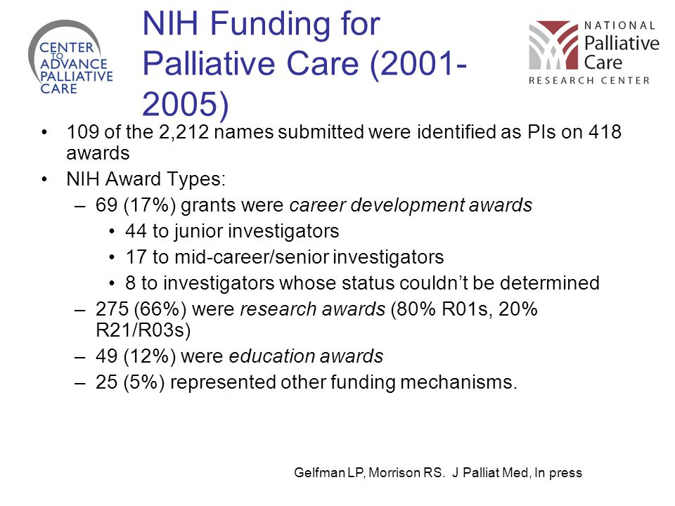 NIH Funding for Palliative Care (2001- 2005) 109 of the 2,212 names submitted were identified as PIs on 418 awards NIH Award Types: –69 (17%) grants were career development awards 44 to junior investigators 17 to mid-career/senior investigators 8 to investigators whose status couldn't be determined –275 (66%) were research awards (80% R01s, 20% R21/R03s) –49 (12%) were education awards –25 (5%) represented other funding mechanisms.