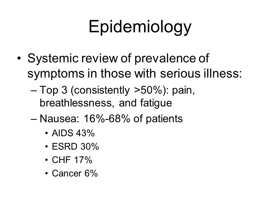Epidemiology Systemic review of prevalence of symptoms in those with serious illness: –Top 3 (consistently >50%): pain, breathlessness, and fatigue –Nausea: 16%-68% of patients AIDS 43% ESRD 30% CHF 17% Cancer 6%