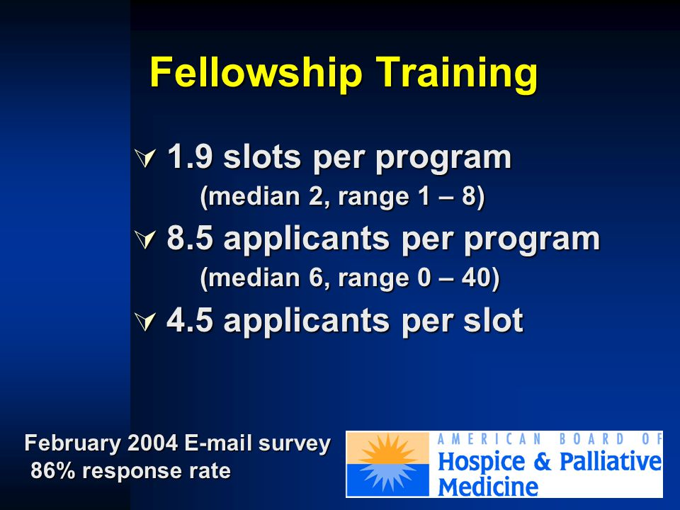 Fellowship Training  47 programs in 2004 –3 NCI-funded –6 VA programs –97 slots total annually www.aahpm.org Accessed May 4, 2004
