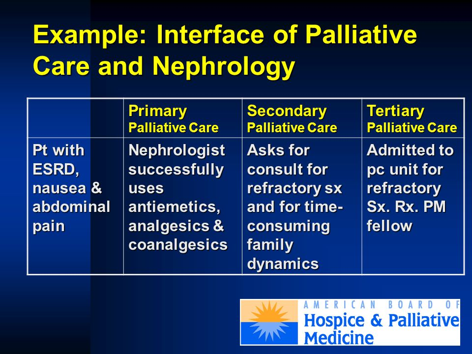 Fellowship Training  Voluntary Guidelines modeled after ACGME model  Palliative Medicine Review Committee accredits after ACGME RRC model  ACGME application initiated J Palliat Med 2002; 5:23-33