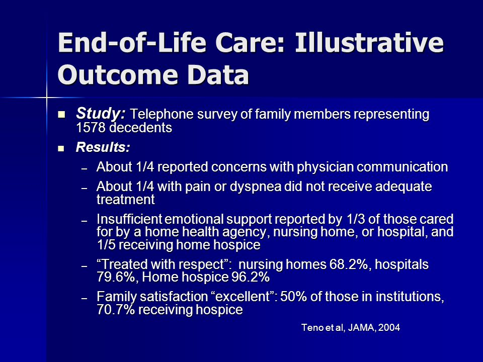 End-of-Life Care: Illustrative Outcome Data Study: Telephone survey of family members representing 1578 decedents Study: Telephone survey of family me