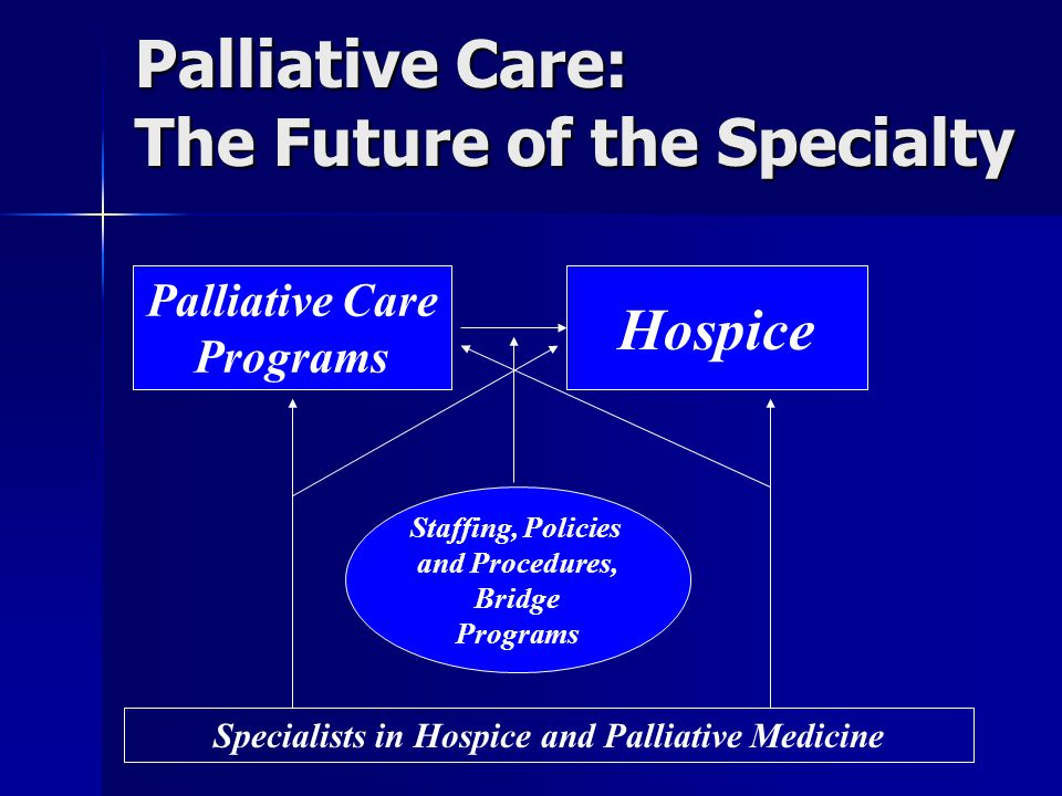 Palliative Care: The Future of the Specialty Palliative Care Programs Hospice Staffing, Policies and Procedures, Bridge Programs Specialists in Hospice and Palliative Medicine