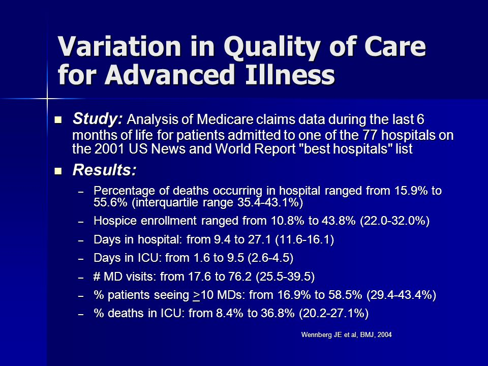 Variation in Quality of Care for Advanced Illness Study: Analysis of Medicare claims data during the last 6 months of life for patients admitted to on