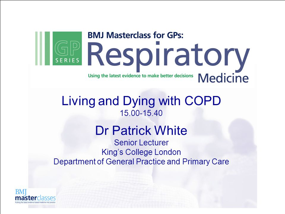 COPD – a major cause of morbidity and mortality 5-10% of the population have it 1.5% diagnosed by clinicians <1% on QOF registers c65 in an average practice of 6500 patients
