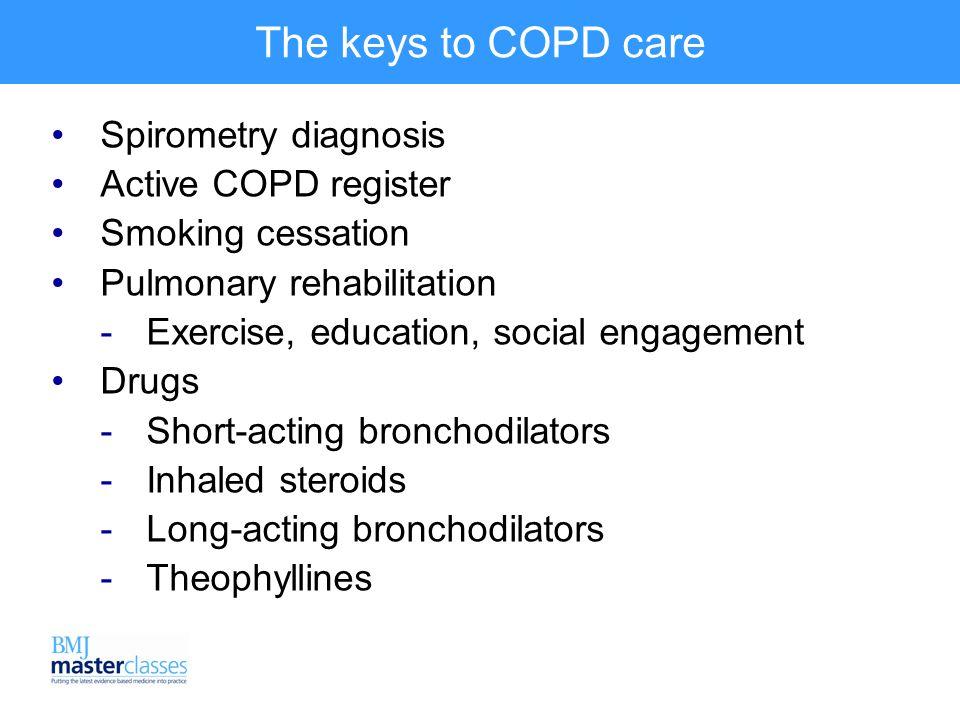The keys to COPD care Spirometry diagnosis Active COPD register Smoking cessation Pulmonary rehabilitation  Exercise, education, social engagement Drugs  Short-acting bronchodilators  Inhaled steroids  Long-acting bronchodilators  Theophyllines .