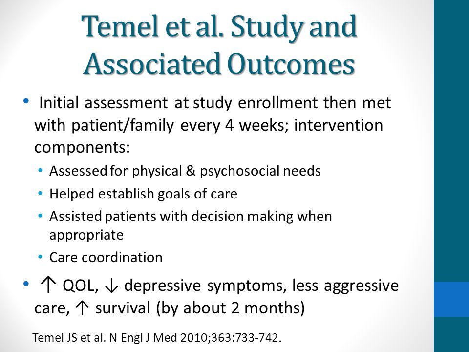 Temel et al. Study and Associated Outcomes Initial assessment at study enrollment then met with patient/family every 4 weeks; intervention components: