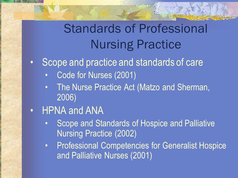 Standards of Professional Nursing Practice Scope and practice and standards of care Code for Nurses (2001) The Nurse Practice Act (Matzo and Sherman, 2006) HPNA and ANA Scope and Standards of Hospice and Palliative Nursing Practice (2002) Professional Competencies for Generalist Hospice and Palliative Nurses (2001)