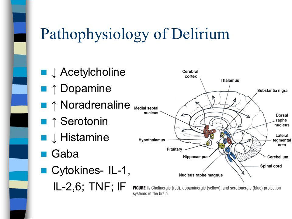 Pathophysiology of Delirium ↓ Acetylcholine ↑ Dopamine ↑ Noradrenaline ↑ Serotonin ↓ Histamine Gaba Cytokines- IL-1, IL-2,6; TNF; IF