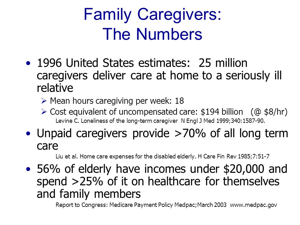 Family Caregivers: The Numbers 1996 United States estimates: 25 million caregivers deliver care at home to a seriously ill relative  Mean hours caregiving per week: 18  Cost equivalent of uncompensated care: $194 billion (@ $8/hr) Levine C.