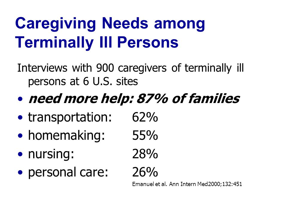 Caregiving Needs among Terminally Ill Persons Interviews with 900 caregivers of terminally ill persons at 6 U.S.