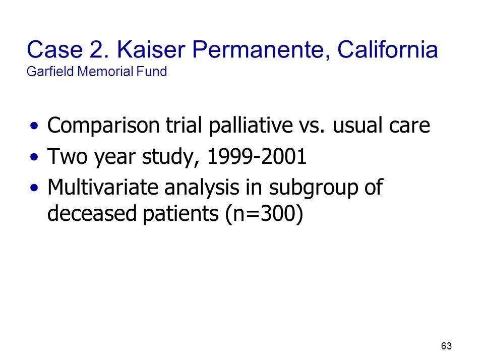 63 Case 2. Kaiser Permanente, California Garfield Memorial Fund Comparison trial palliative vs.