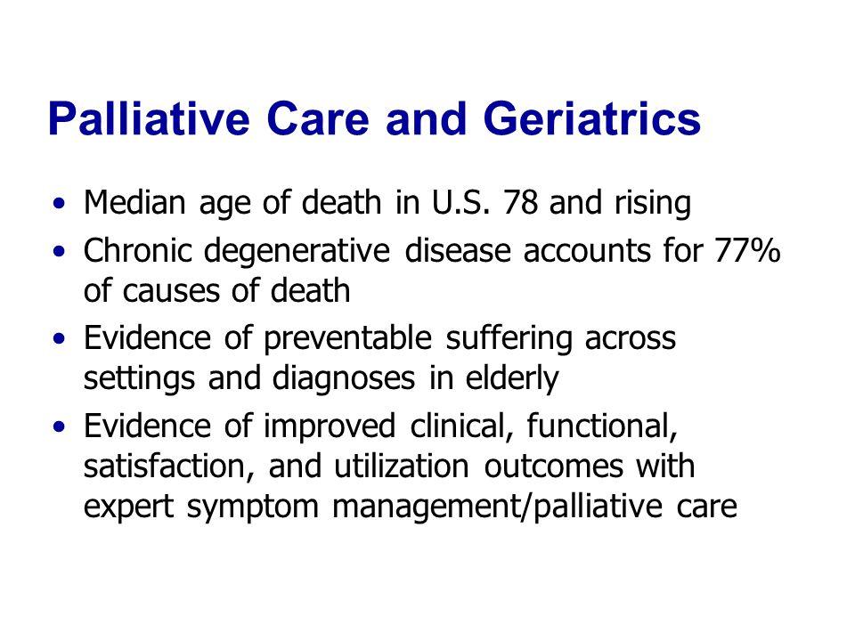 Palliative Care and Geriatrics Median age of death in U.S.