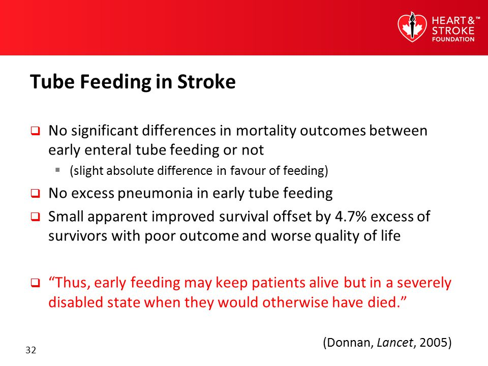 32 Tube Feeding in Stroke  No significant differences in mortality outcomes between early enteral tube feeding or not  (slight absolute difference i