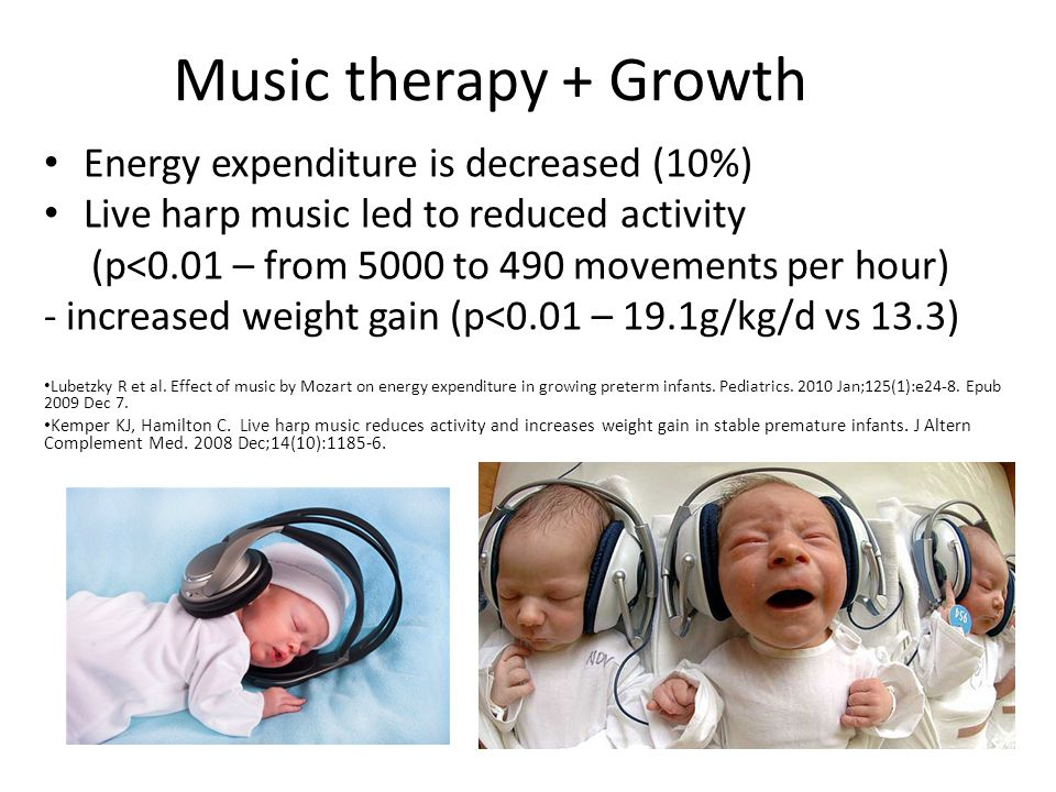 Music therapy + Palliative Care Beneficial for pain control, distress and mood, and quality of life Parents 23 times more likely to report satisfaction with the palliative care package (p<0.05) Hanser S.