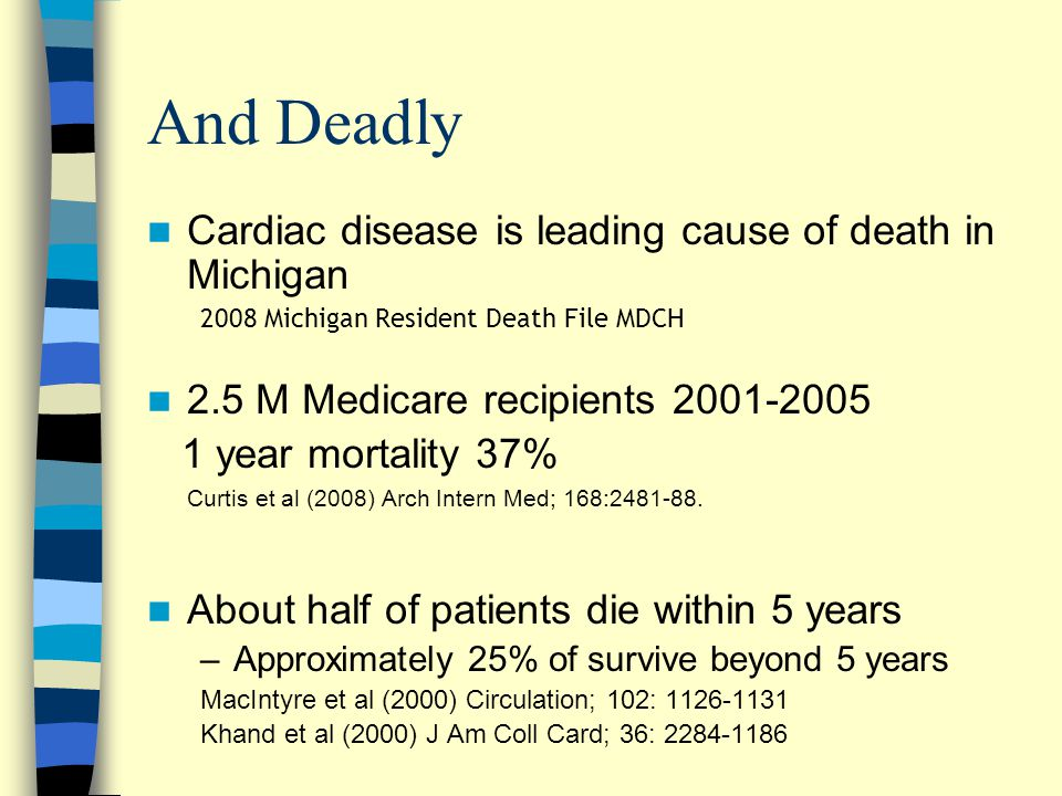 And Deadly Cardiac disease is leading cause of death in Michigan 2008 Michigan Resident Death File MDCH 2.5 M Medicare recipients 2001-2005 1 year mortality 37% Curtis et al (2008) Arch Intern Med; 168:2481-88.