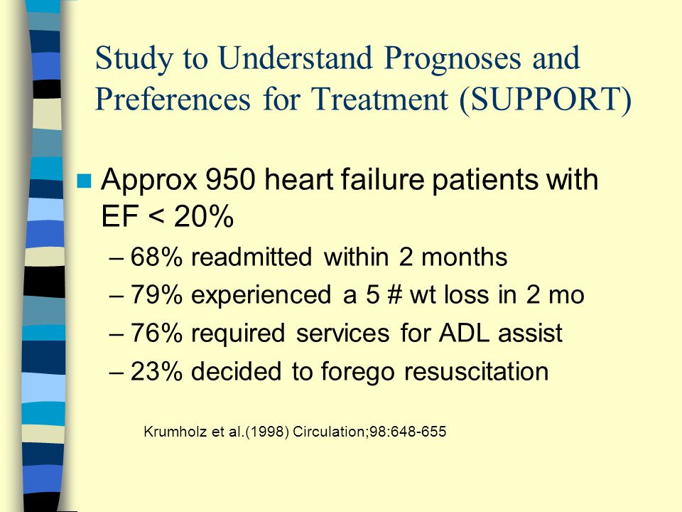Study to Understand Prognoses and Preferences for Treatment (SUPPORT) Approx 950 heart failure patients with EF < 20% –68% readmitted within 2 months