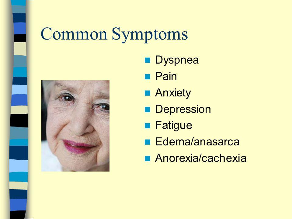 Common Symptoms Dyspnea Pain Anxiety Depression Fatigue Edema/anasarca Anorexia/cachexia