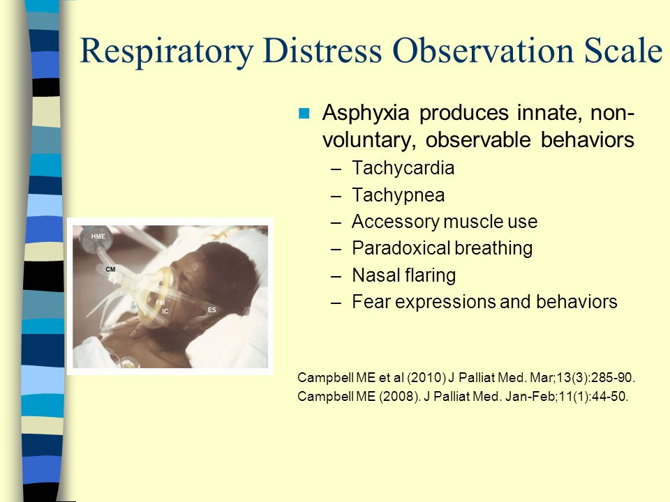 Asphyxia produces innate, non- voluntary, observable behaviors –Tachycardia –Tachypnea –Accessory muscle use –Paradoxical breathing –Nasal flaring –Fear expressions and behaviors Campbell ME et al (2010) J Palliat Med.