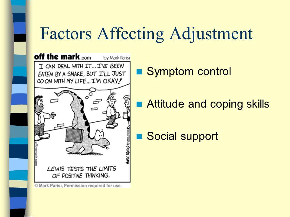 Factors Affecting Adjustment Symptom control Attitude and coping skills Social support