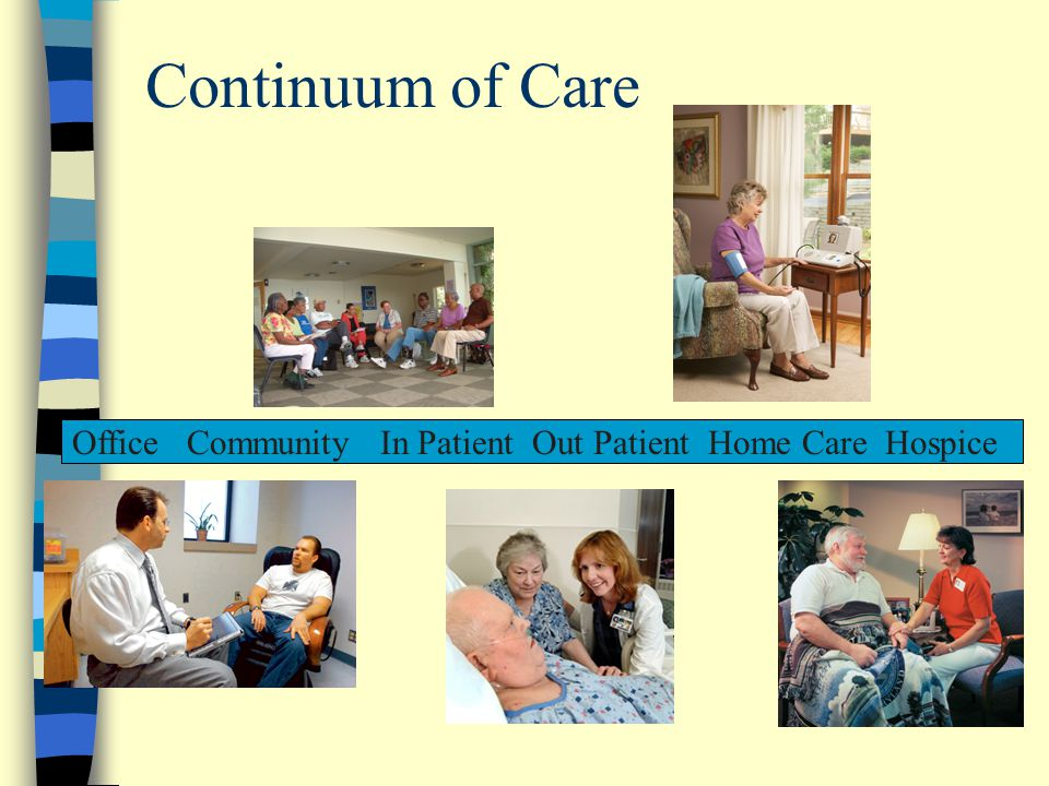 Continuum of Care Office Community In Patient Out Patient Home Care Hospice