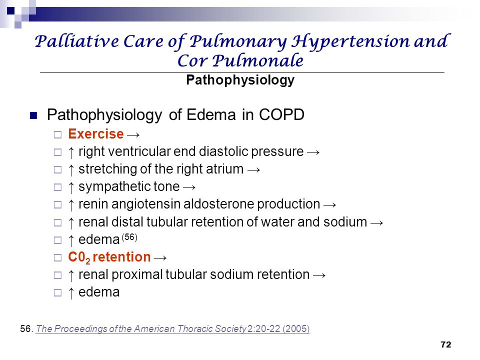72 Palliative Care of Pulmonary Hypertension and Cor Pulmonale Pathophysiology Pathophysiology of Edema in COPD  Exercise →  ↑ right ventricular end