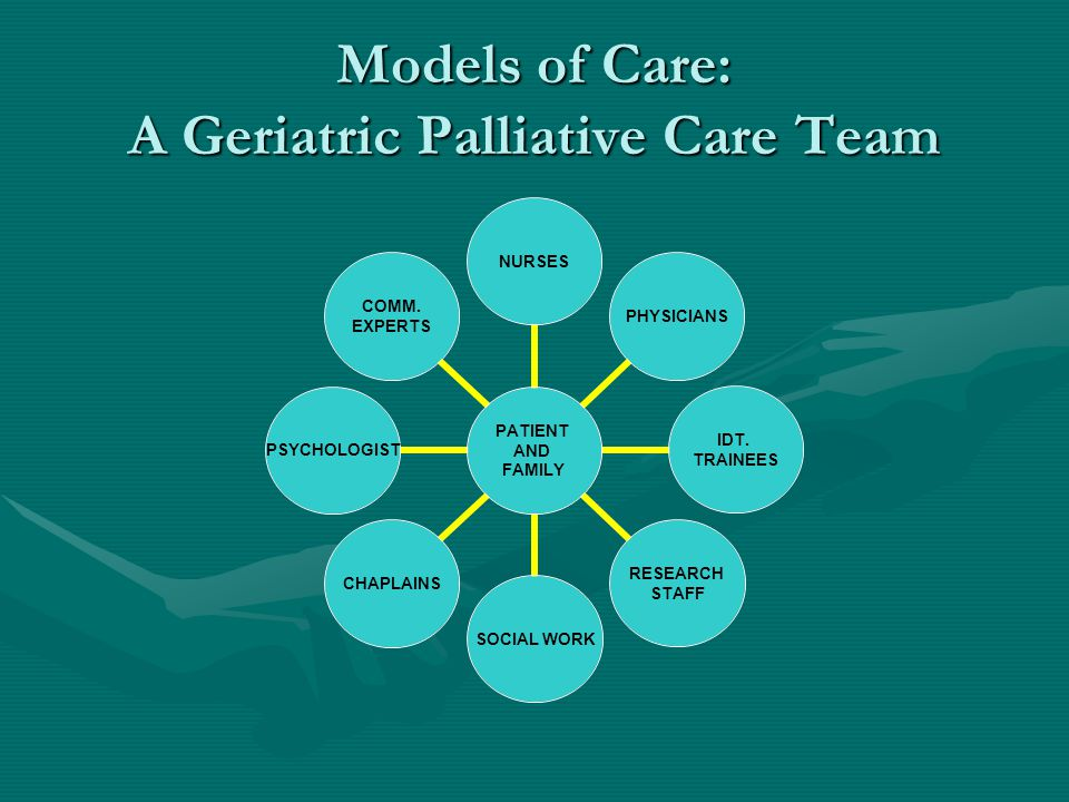 Models of Care: A Geriatric Palliative Care Team PATIENT AND FAMILY NURSESPHYSICIANS IDT. TRAINEES RESEARCH STAFF SOCIAL WORKCHAPLAINSPSYCHOLOGIST COM