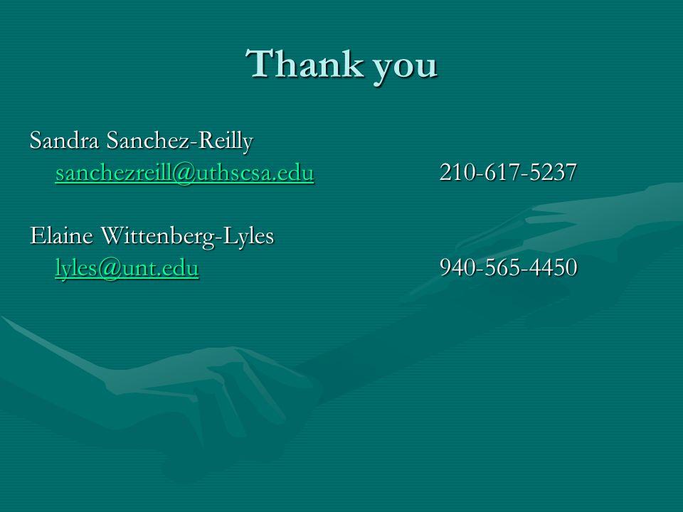 Thank you Sandra Sanchez-Reilly sanchezreill@uthscsa.edusanchezreill@uthscsa.edu210-617-5237 sanchezreill@uthscsa.edu Elaine Wittenberg-Lyles lyles@unt.edulyles@unt.edu940-565-4450 lyles@unt.edu