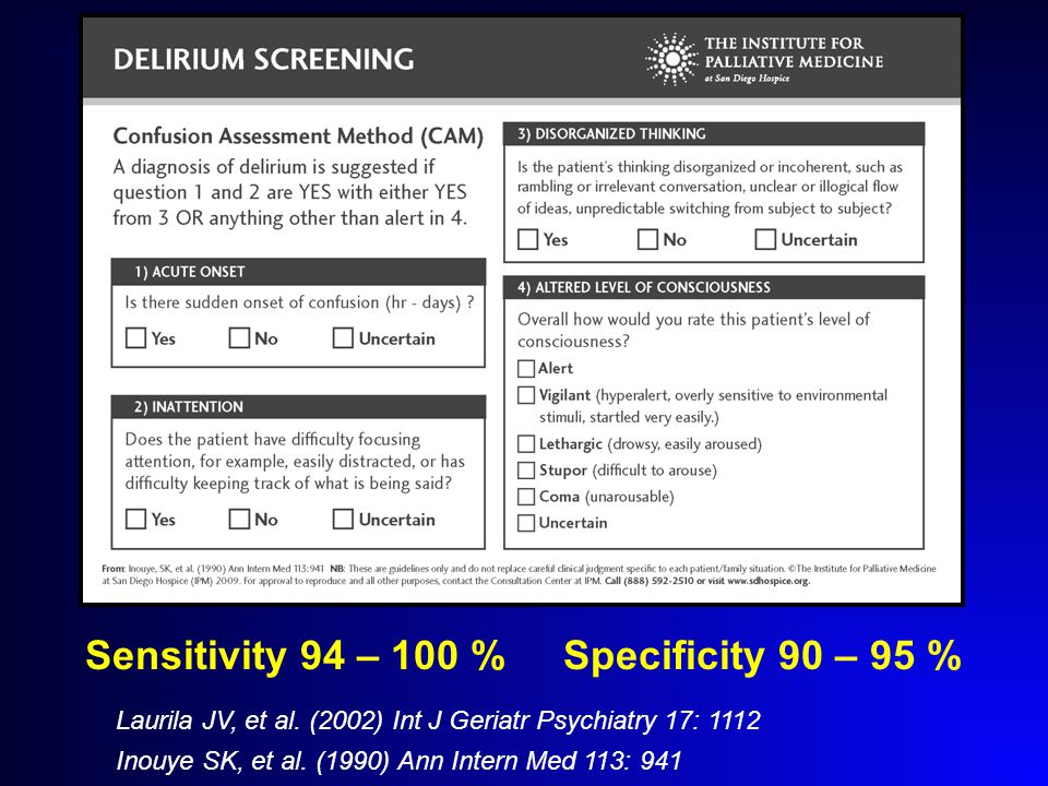 Sensitivity 94 – 100 % Specificity 90 – 95 % Laurila JV, et al.