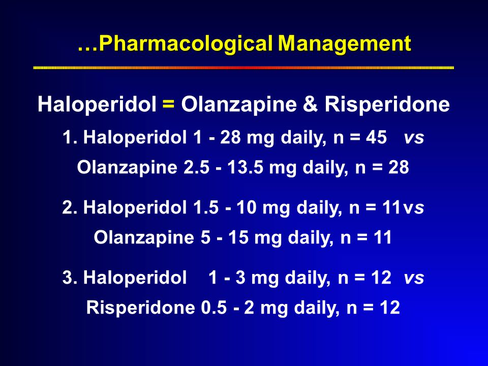 …Pharmacological Management Haloperidol = Olanzapine & Risperidone 1.
