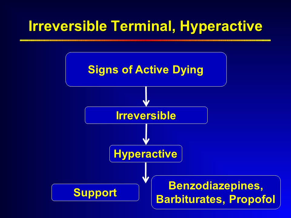 Hyperactive Irreversible Irreversible Terminal, Hyperactive Benzodiazepines, Barbiturates, Propofol Support Signs of Active Dying