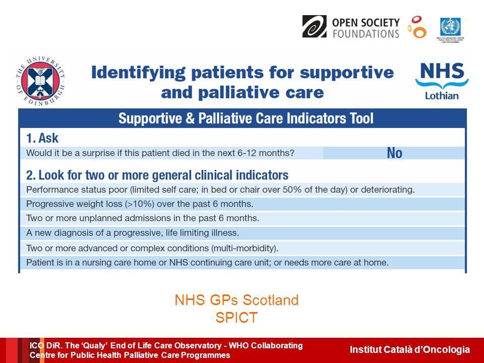Institut Català d'Oncologia NHS GPs Scotland SPICT ICO DiR.