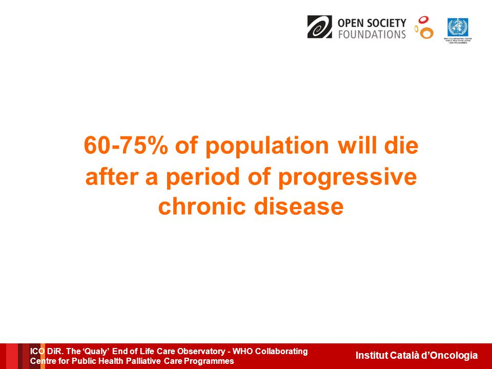 Institut Català d'Oncologia 60-75% of population will die after a period of progressive chronic disease ICO DiR.