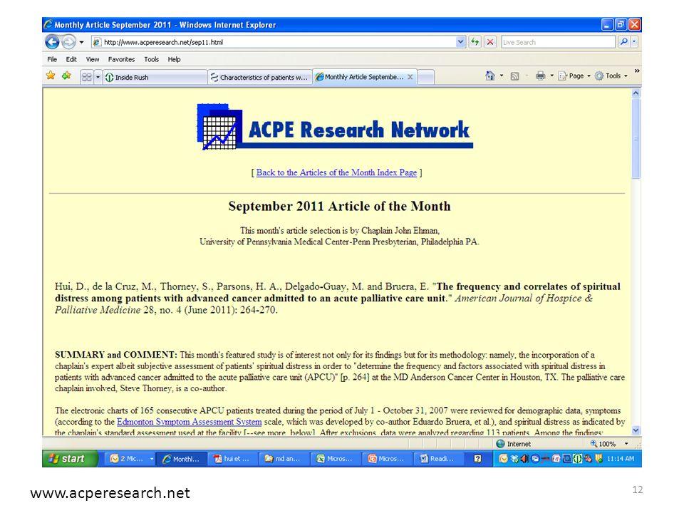 12 www.acperesearch.net