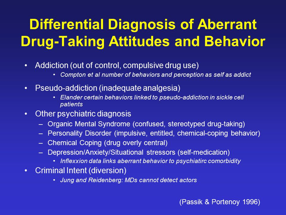 Differential Diagnosis of Aberrant Drug-Taking Attitudes and Behavior Addiction (out of control, compulsive drug use) Compton et al number of behavior
