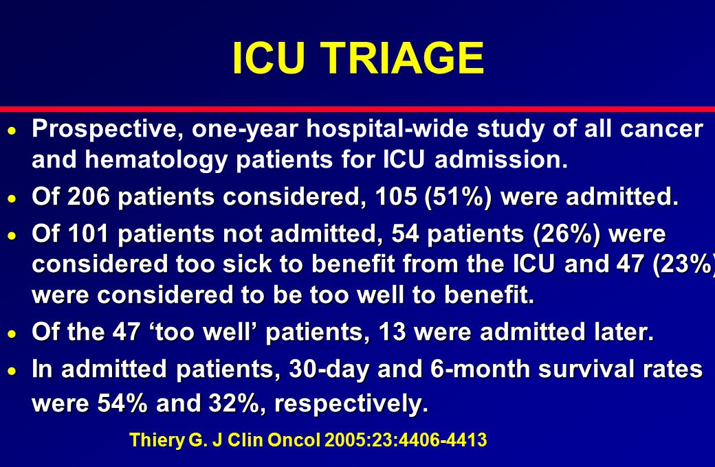ICU TRIAGE   Prospective, one-year hospital-wide study of all cancer and hematology patients for ICU admission.